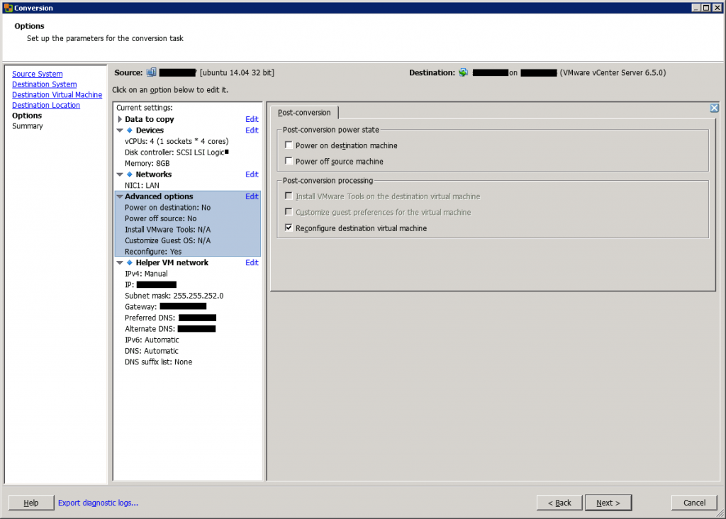 VMware vCenter Converter Standalone conversion advanced options