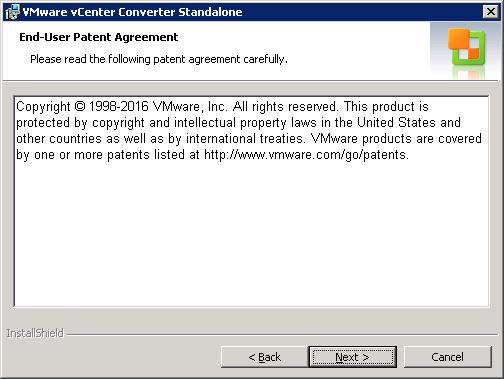 VMware vCenter Converter Standalone end-user patent agreement