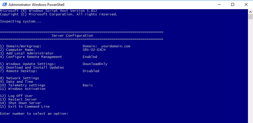 Windows PowerShell with administrative privileges and sconfig utility