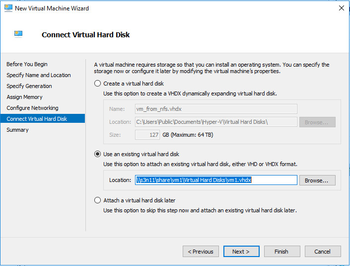 New Virtual Machine Wizard Connect VHD