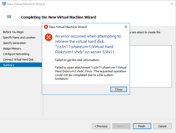 Completing New Virtual Machine Wizard