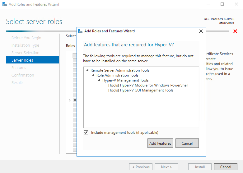 Add features that are required for Hyper-v