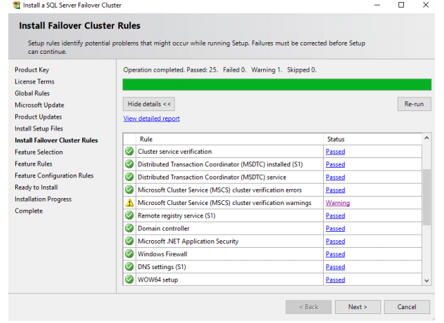 Install SQL Server Failover Cluster Rules