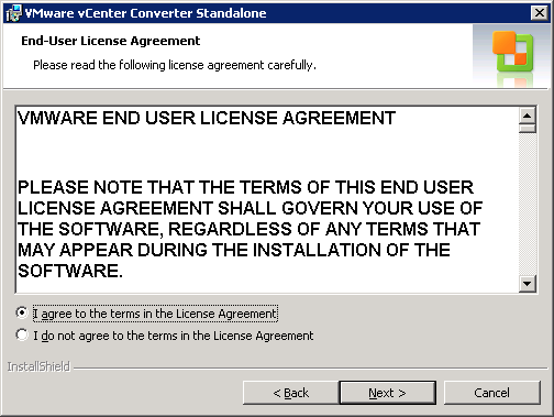 VMware vCenter Converter Standalone end-user license agreement