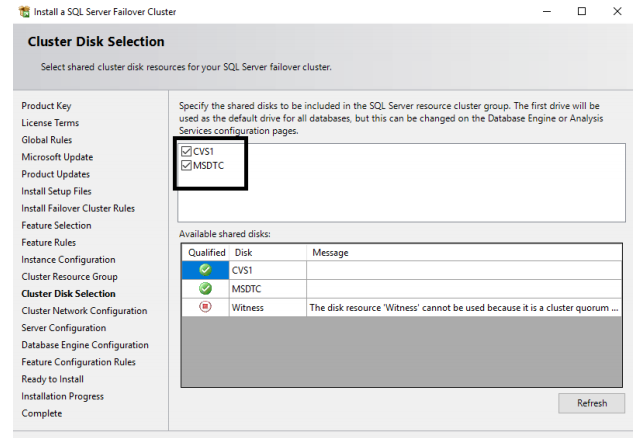 SQL Server Failover Cluster disk selection