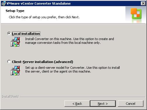 VMware vCenter Converter Standalone setup type