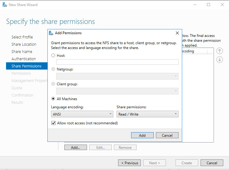New Share Wizard Share permissions