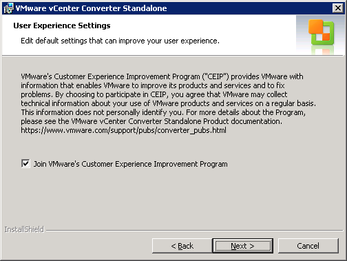 VMware vCenter Converter Standalone User experience settings