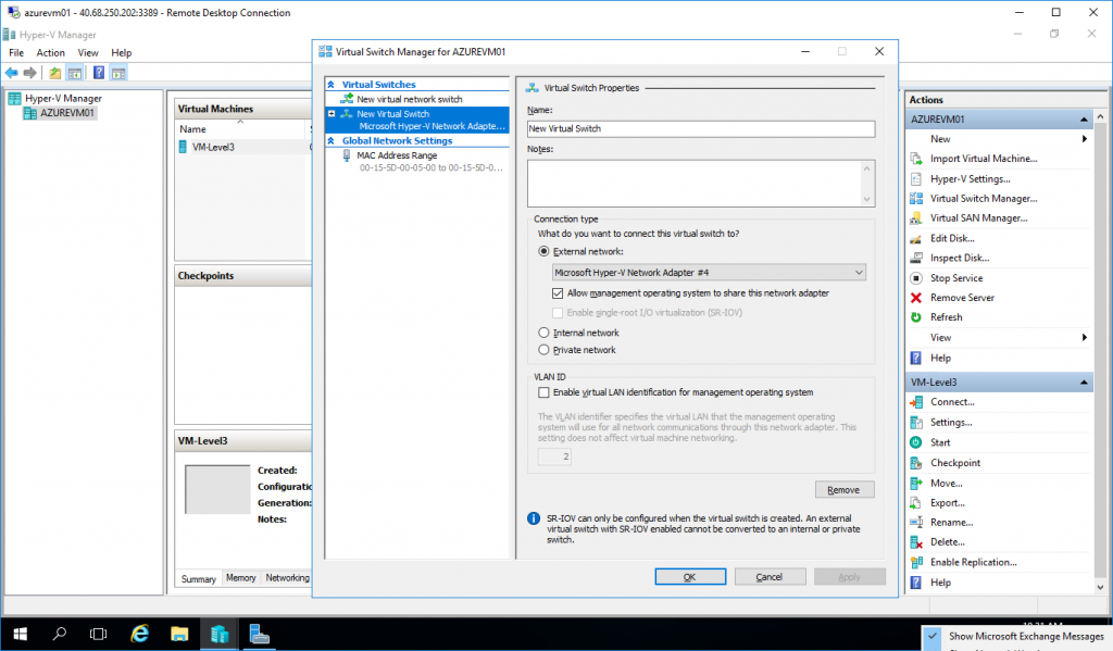 Virtual Switch Manager for Azure VM