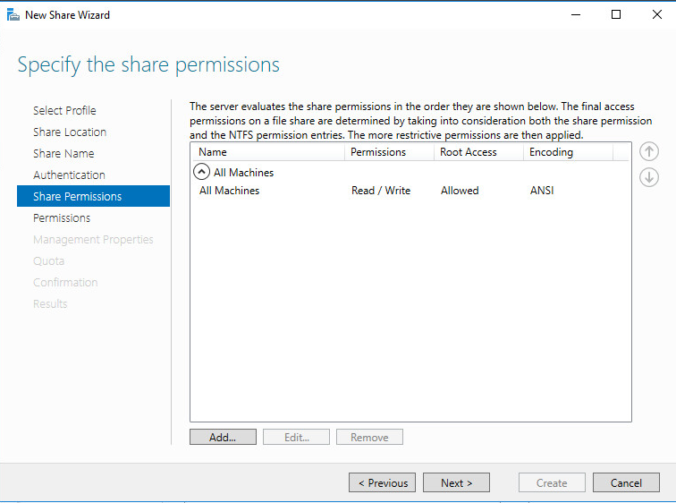 New Share Wizard Specify Share permissions