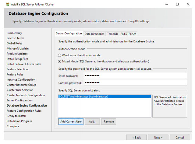 SQL Server Failover Cluster Database Enine configuration