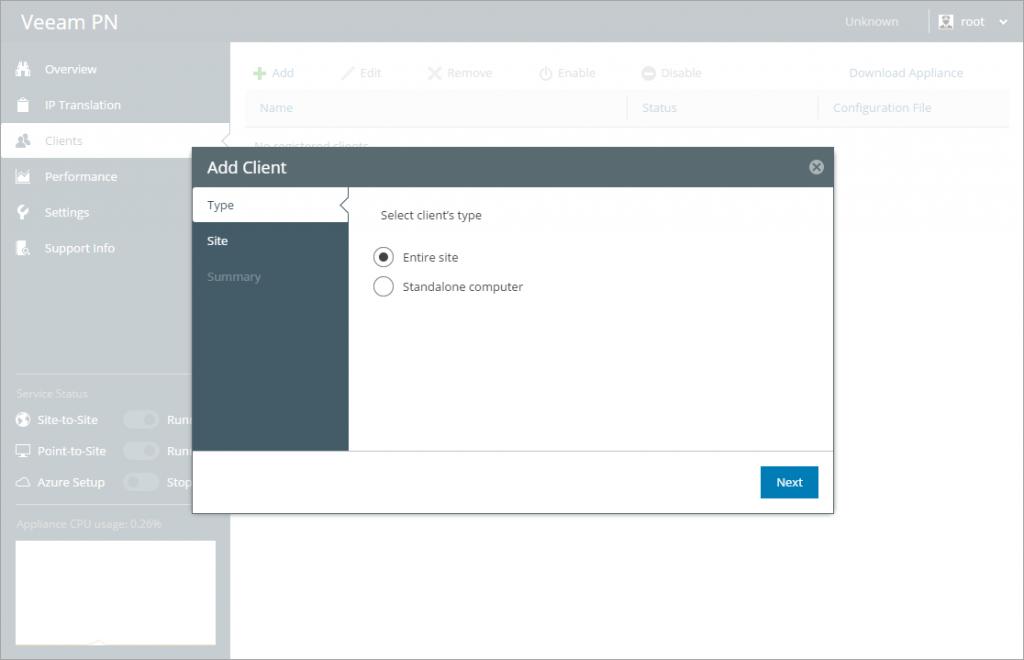 Veeam PN clients add client window