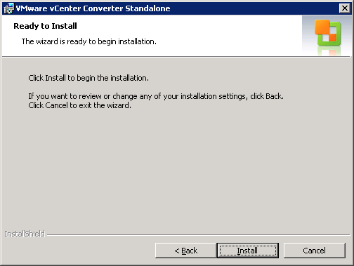 VMware vCenter Converter Standalone ready to install window