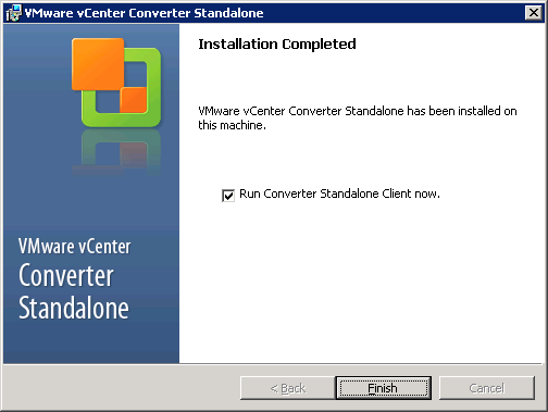 VMware vCenter Converter Standalone installation completed window