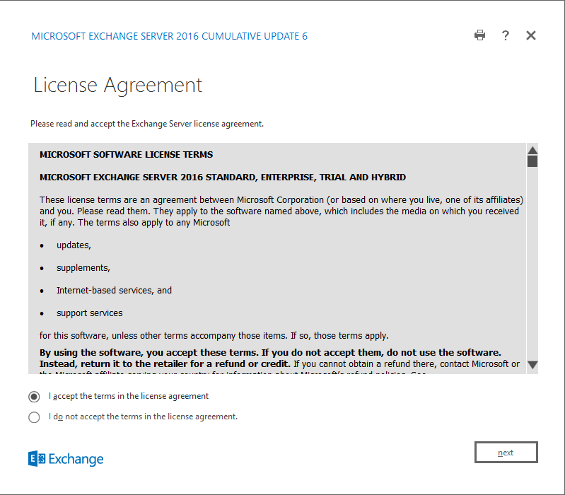 Exchange Server 2016 Cumulative Update 6 license agreement