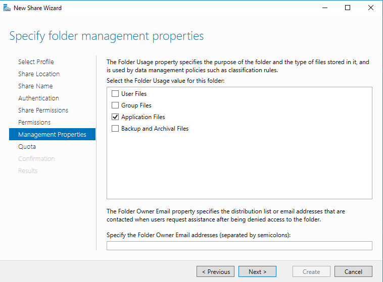 New Share Wizard Specify folder management