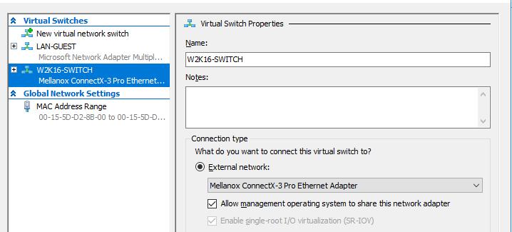 Virtual Switch properties