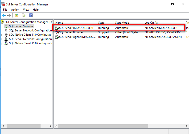 SQL Server Configuration Manager view