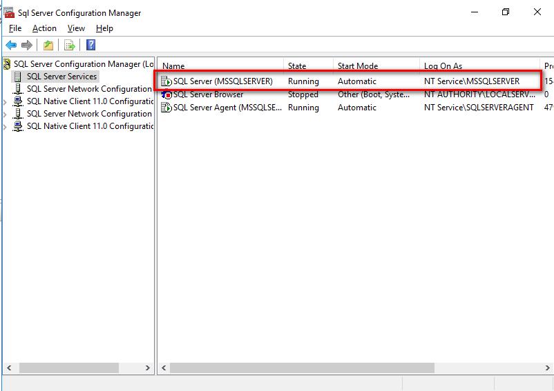 SQL Server Configuration Manager view