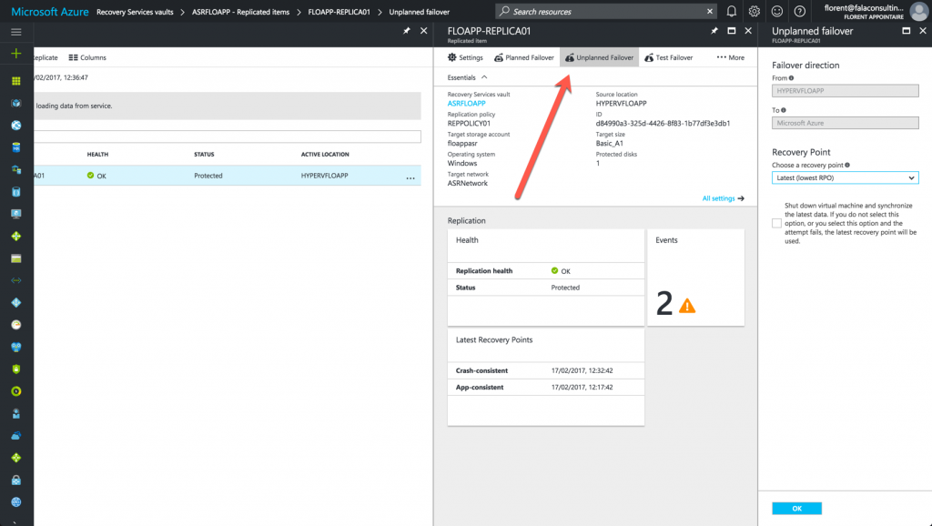 Unplanned Failover in Azure Console
