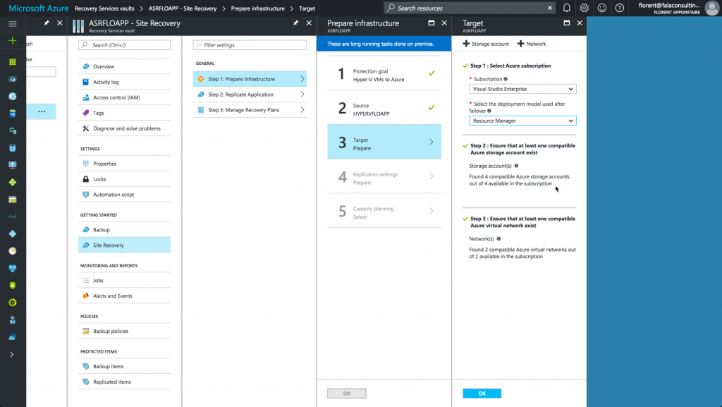 Choose Azure subscription to replicate VM with ASR