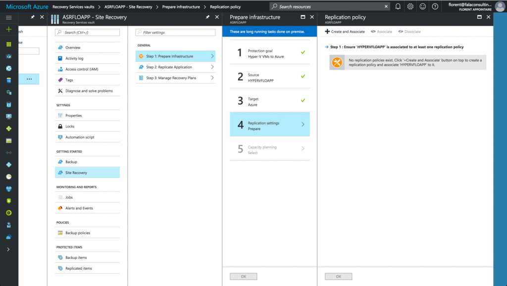 create a rule for the replication in Microsoft Azure Resource Manager