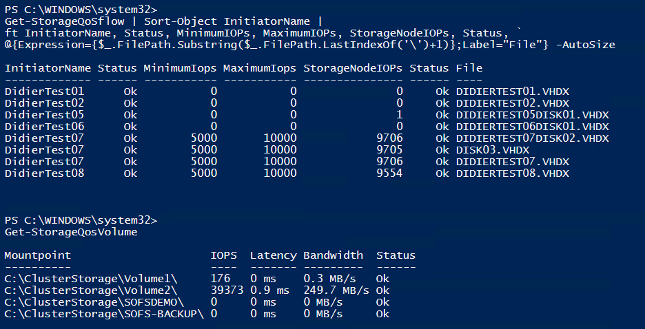 Check Storage QoS flow via PowerShell