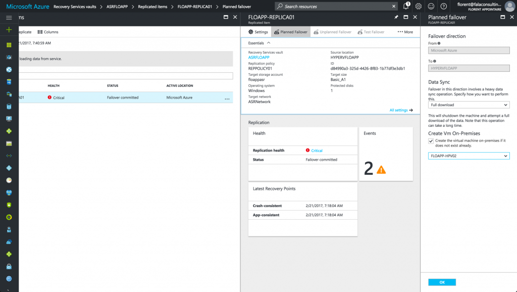 failover Azure to Datacenter in Azure console
