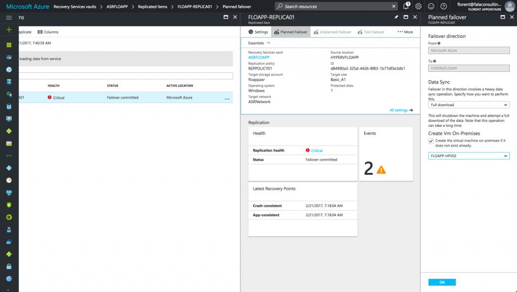 failover Azure to Datacenter in Azure console