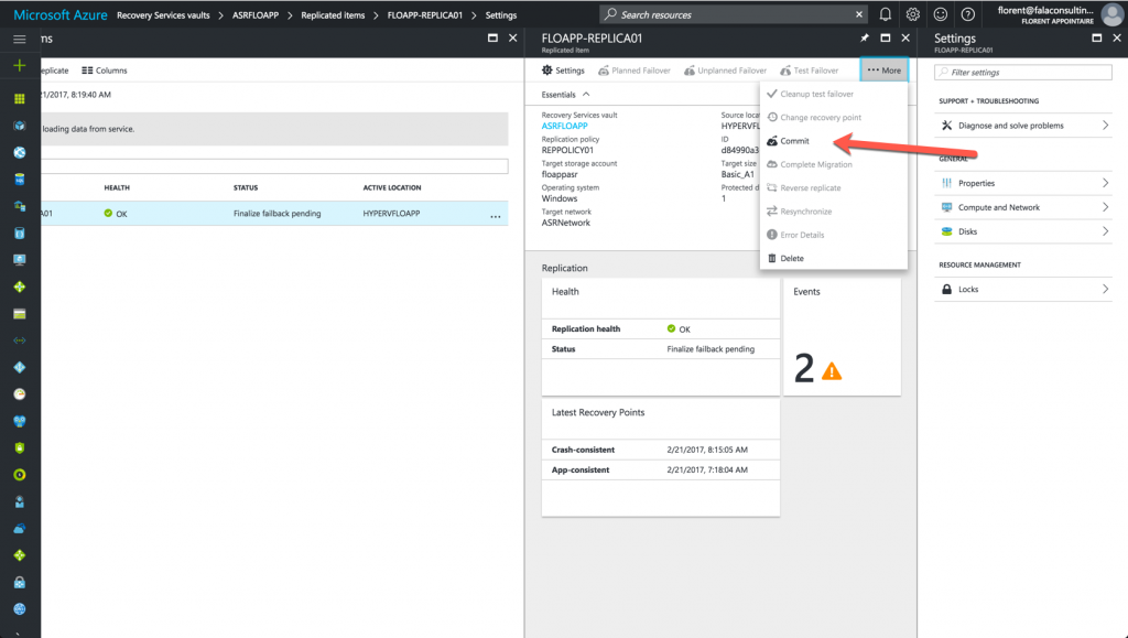 commit failover from Azure to Datacenter