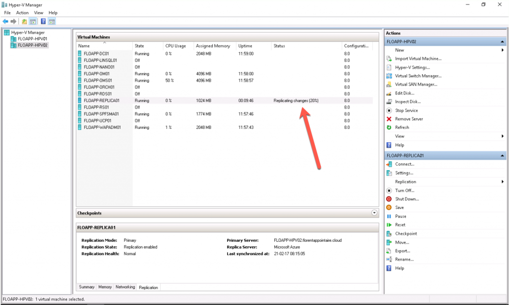 Virtual Machines replicating changes in Hyper-V Manager