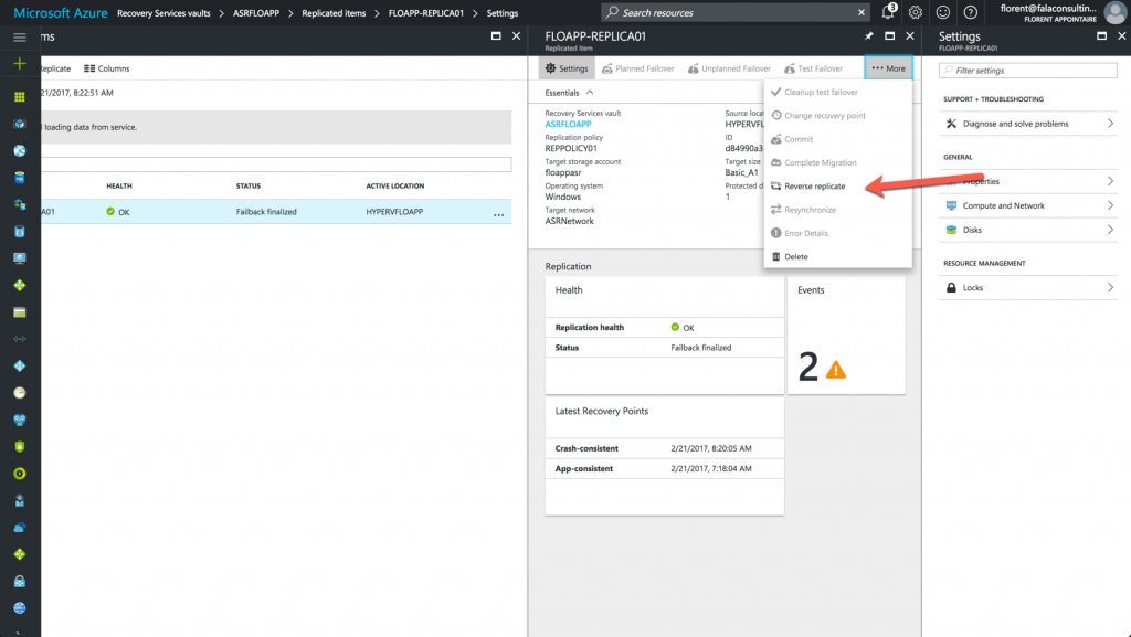 activate the replication of the VM to Azure