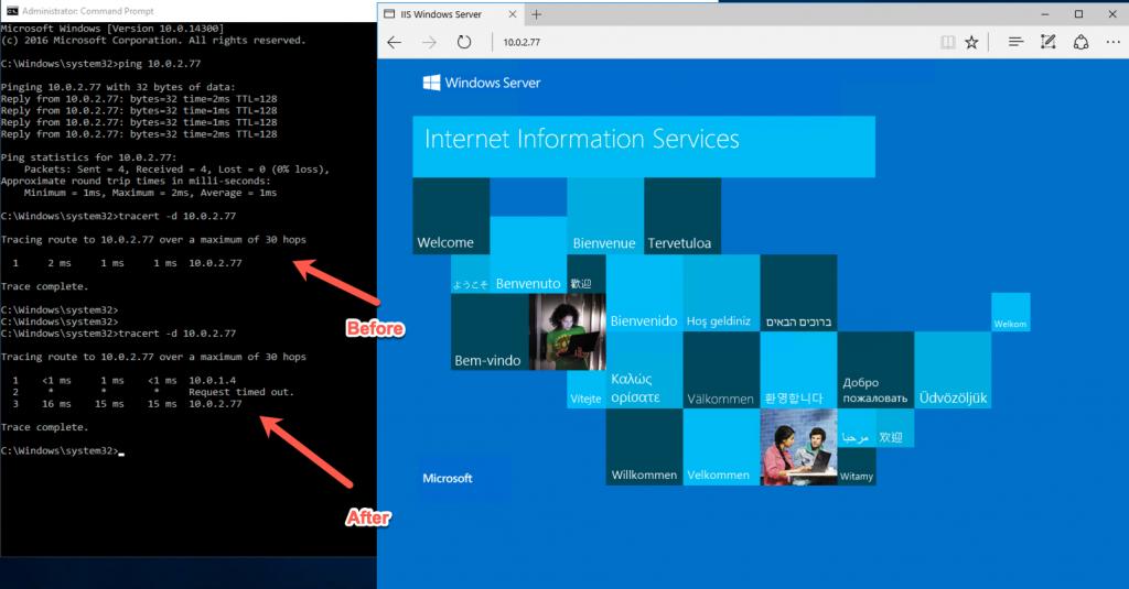 IIS Windows Server tracing route