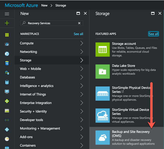 Backup and Site Recovery (OMS) Microsoft Azure Resource Manager