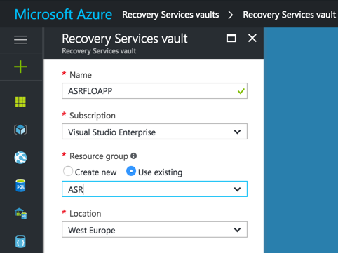 Recovery Services vault in Microsoft Azure Resource Manager