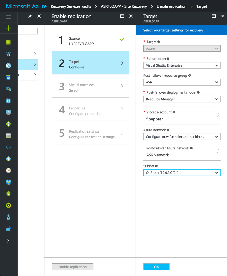 Target Configuration in Azure Console
