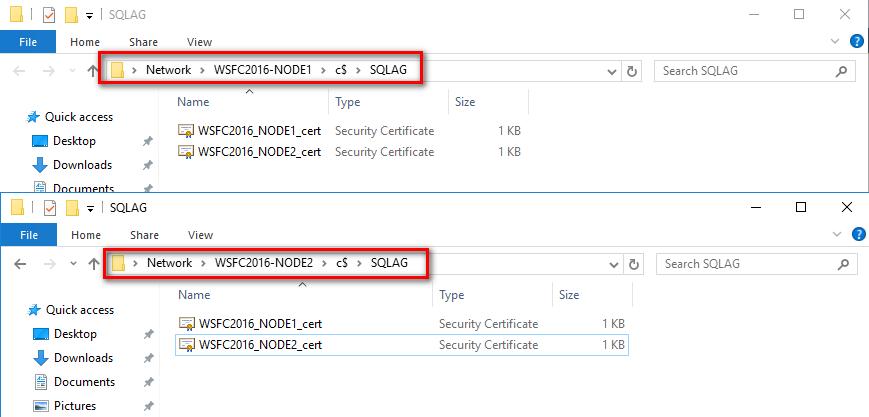 certificate files on SQL Server instances