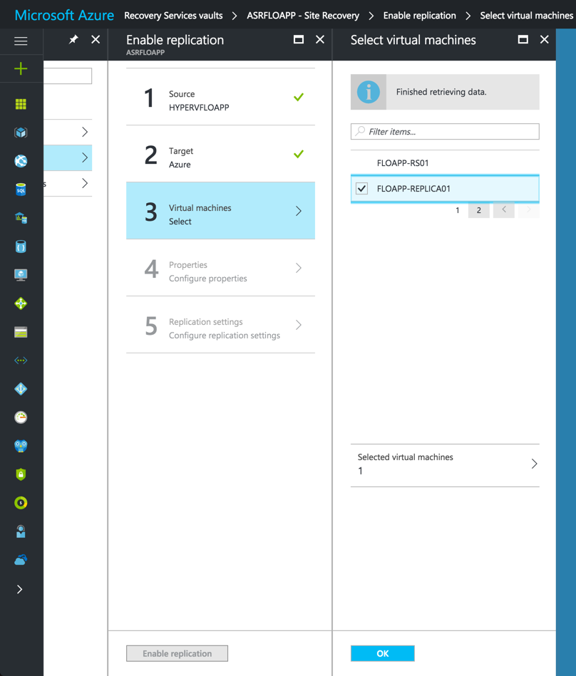 Enable Replication in Azure Resource Manager
