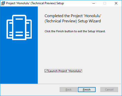 Honolulu setup wizard