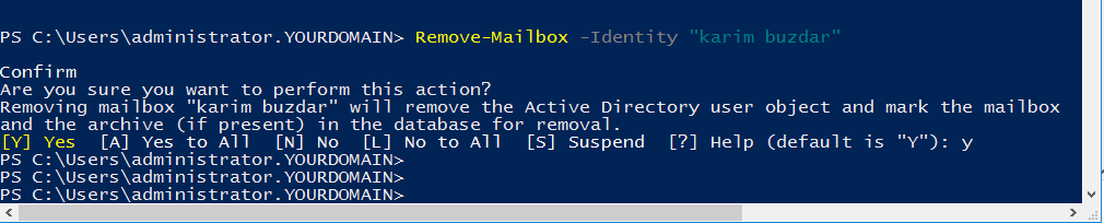 Remove mailbox via powershell command