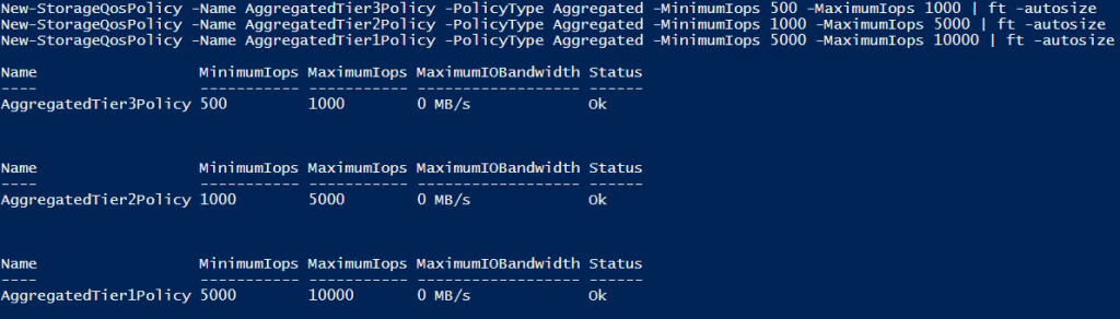 Create aggregated storage QoS policies with IOPS and Bandwidth settings