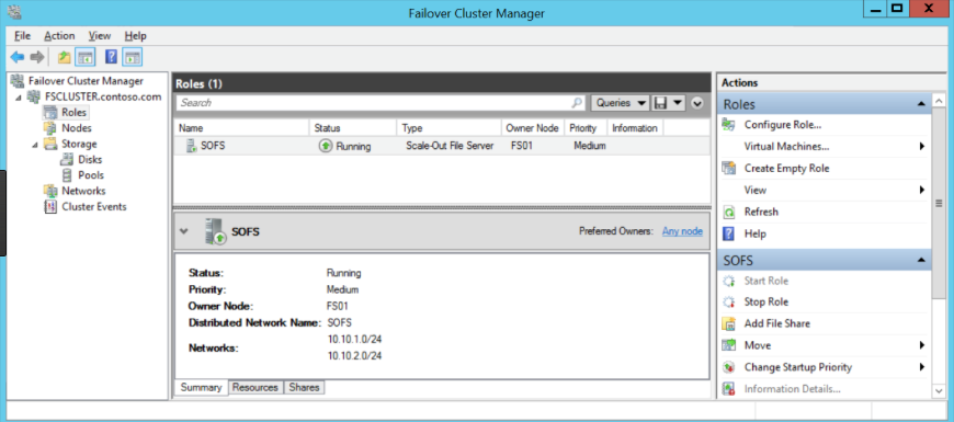 Failover Cluster Manager with SOFS roles
