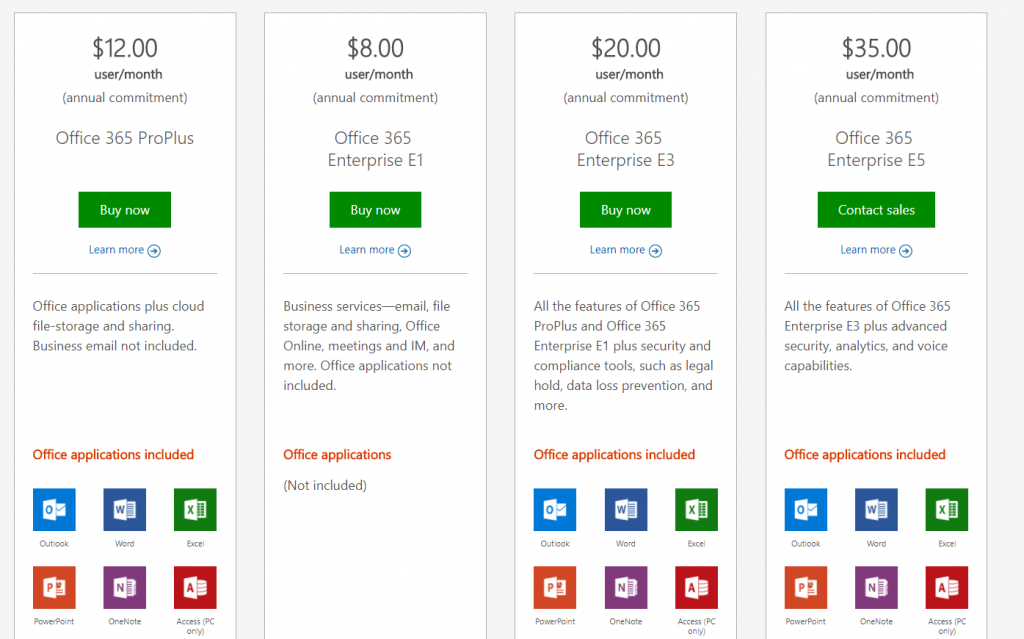 Office 365 Business and Enterprise plans
