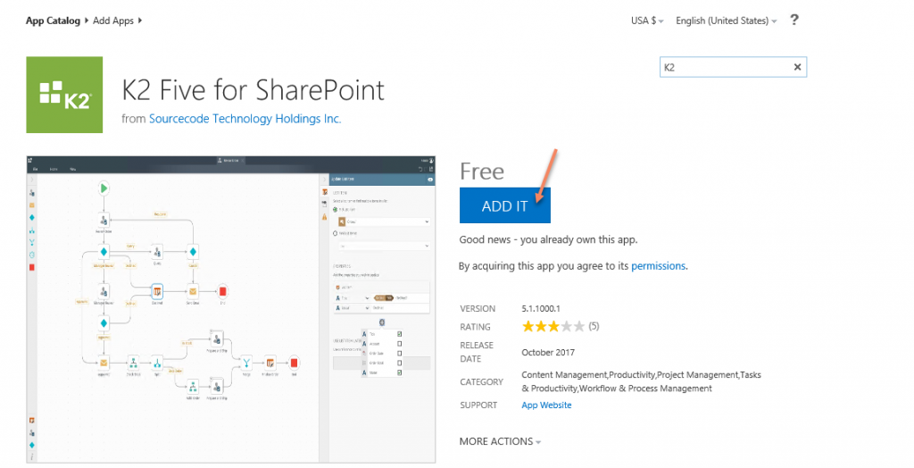 add an app to SharePoint app catalog