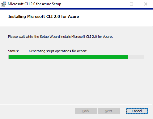 Microsoft CLI for Azure installation progress status