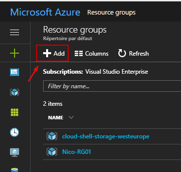 Manager Resource Group in Azure GUI