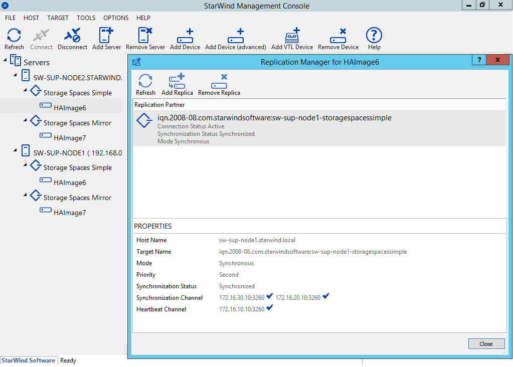 StarWind Management Console with HA devices
