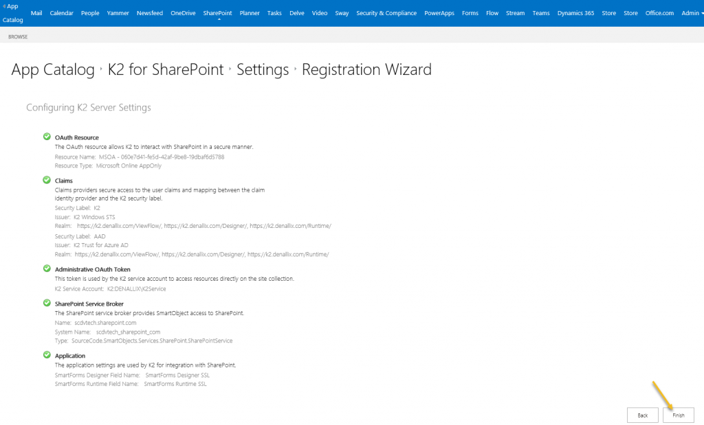 SharePoint App registration settings