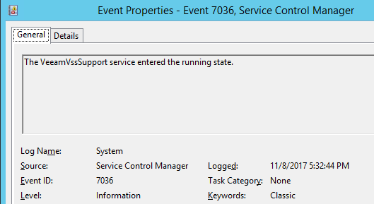 Service Control Manager - event properties