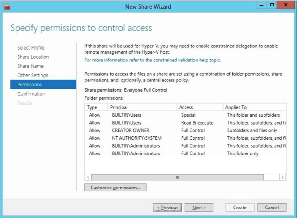 Specify SMB permissions